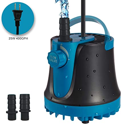 600L//H 8W  Submersible Water Pump Fountain Adjustable Flow w// 2 Nozzles S5Z9
