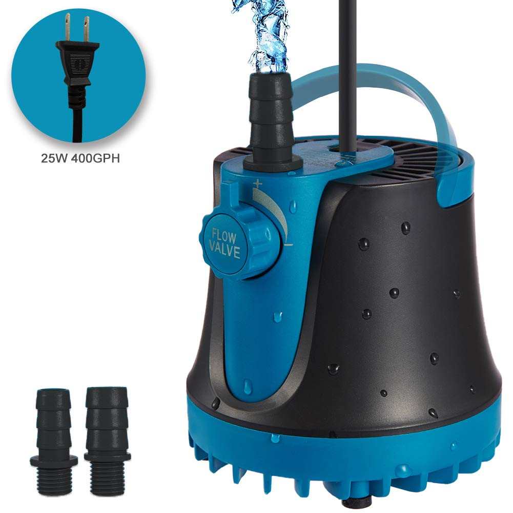 TOPBRY 400GPH Submersible Pump(1800L/H, 25W), Submersible Water Pump, Ultra Quiet Fountain Pump with 2 Nozzles, 5.9ft Power Cord for Fish Tank, Aquarium, Pond, Hydroponics, Statuary (Black - 400GPH) by TOPBRY