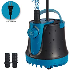 TOPBRY 400GPH Submersible Pump(1800L/H, 25W), Submersible Water Pump, Ultra Quiet Fountain Pump with 2 Nozzles, Perfect for Fish Tank, Aquarium, Pond, Hydroponics, Statuary