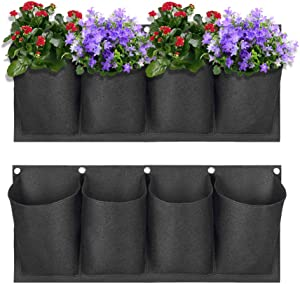 U/A 2Pack Garden Wall Planting Bags with 4 Pockets, LASZOLA Large Felt Vertical Wall Mount Hanging Planter Flowerpot for Outdoor Yard Home Décor (Black)