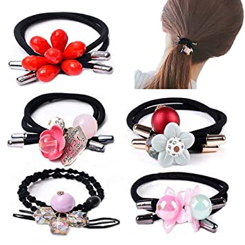 Elastic Hair Band Rope Ponytail Holder Hairband With Large Crystal Pearl Bow
