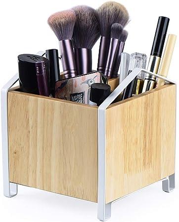 SRIWATANA Soporte para brochas de maquillaje, organizador de maquillaje de madera, estuche de almacenamiento de cosméticos