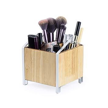 "Sriwatana Makeup Brush Holder,Wood Makeup Organizer, Wooden Cosmetic Storage Case,Cosmetics Organizer Box, 5.43\"" L X5 W X 5\"" H by Sriwatana"