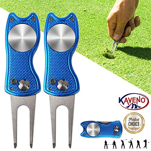 kaveno Golf Divot Repair Tool, Foldable Magnetic Pop-up Button Stainless Steel Switchblade & Detachable Golf Ball Marker (Blue Fish 2 Set)