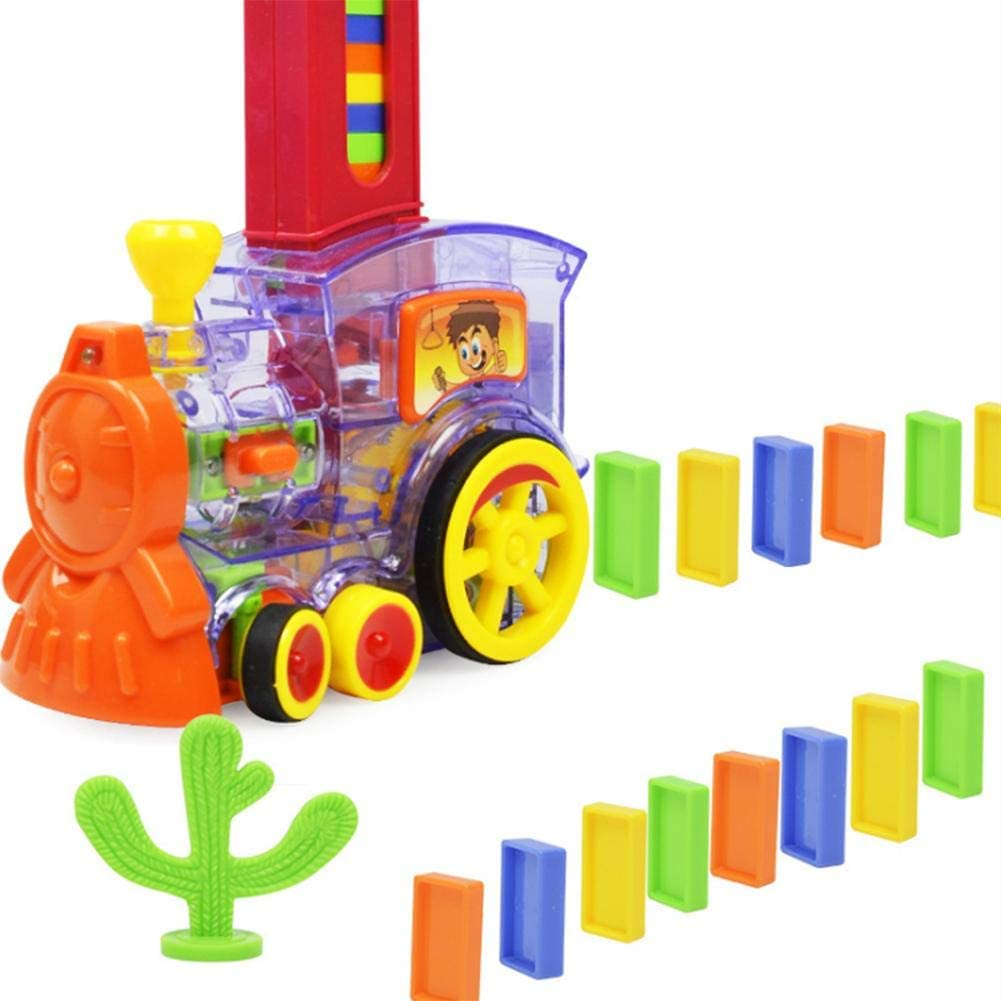 Eilane Domino Train Board Building Blocks Games Dominoes Set Kids Train Set Domino Rally Train Toys Mexican Train Dominoes Domino Blocks Set with Light Sound Improve Operating Ability and Patience