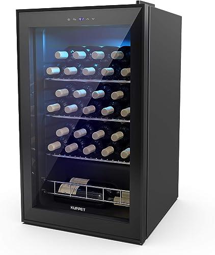 KUPPET 27 Bottles Compressor Freestanding Wine Cooler