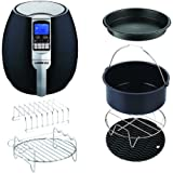 GoWISE USA 3.7-Quart Air Fryer w/ 8 Cook Presets (Black+6-PC Acc.)