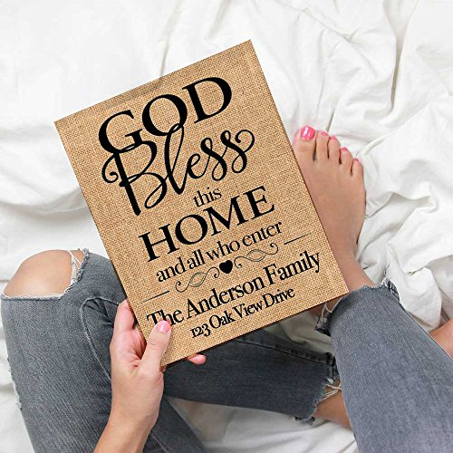 ♥ GOD Bless This Home And All Who Enter | Personalized Burlap Print | Housewarming Gift | New Home Closing Gift Burlap Gift ♥ (Wedding Invitation Announcement Wording)