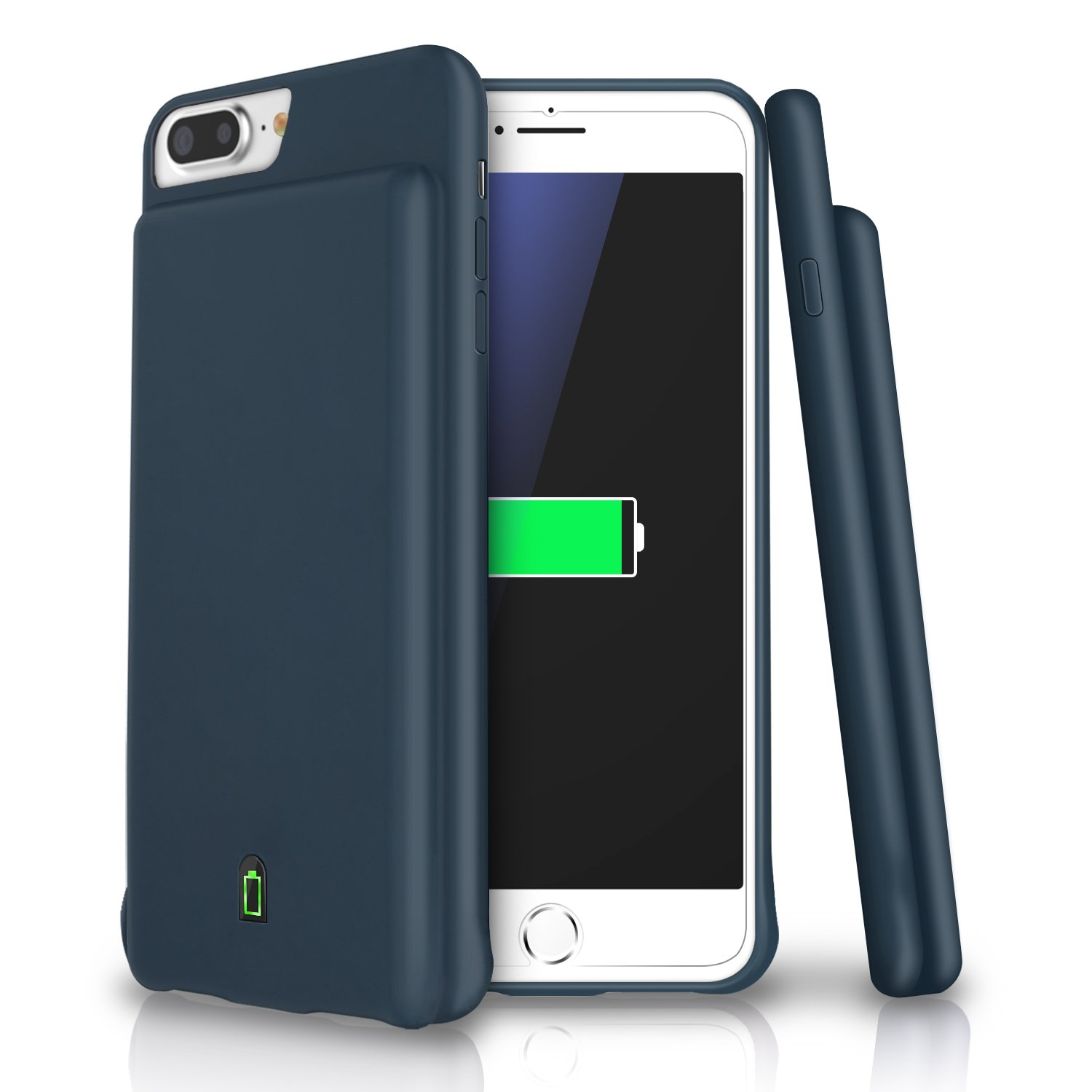 iPhone 8 Plus / 7 Plus / 6s Plus / 6 Plus Battery Case, LoHi 7000mAh Capacity Support Headphones Ultra Slim Extended Battery Rechargeable Protective Portable Charger 5.5 Inch Navy Blue IP7-Battery-Blue