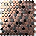 Hexagon Stainless Steel Brushed Mosaic Tile Rose Gold Black Bathroom Shower Floor Tiles TSTMBT021