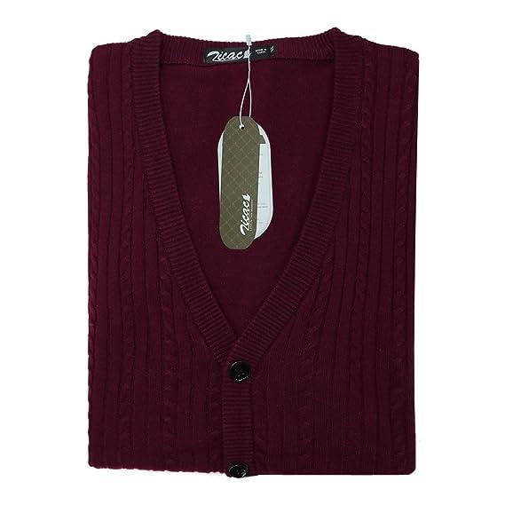 0fa1764394df0 Zicac Pull sans Manches Gilet en Maille Col V avec Boutons pour Homme   Amazon.fr  Vêtements et accessoires