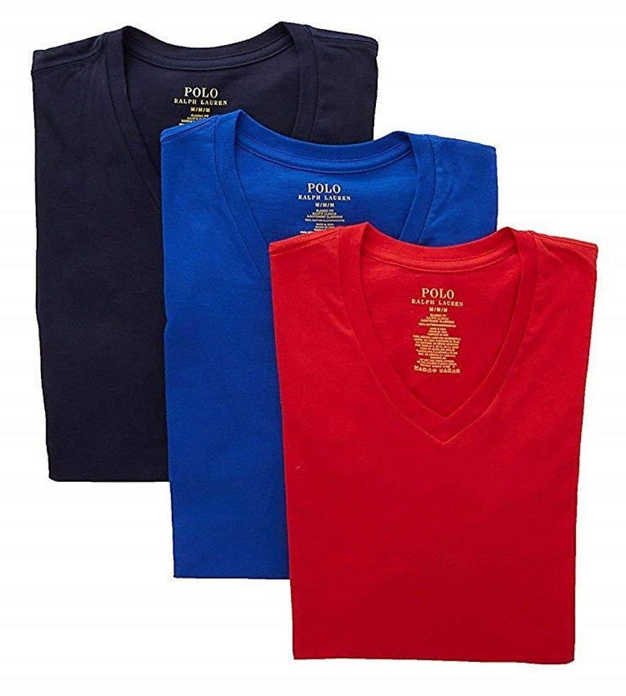 Polo Ralph Lauren Classic Fit 100% Cotton V-Neck T-Shirts - 3 Pack (RCVNS3) M/Cruise Royal/Red/Navy by Polo Ralph Lauren