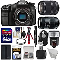 Sony Alpha A68 Digital SLR Camera Body with 18-135mm ED & 70-300mm Lenses + 64GB Card + Battery + Backpack + Tripod + Flash Kit