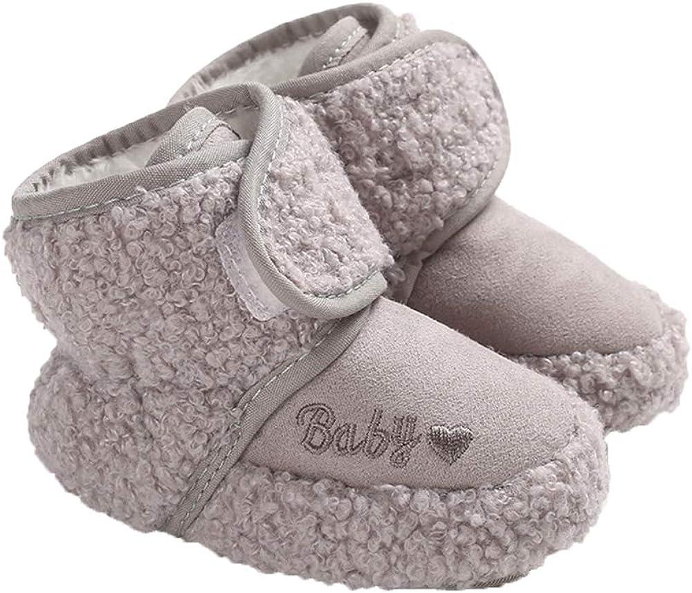 Baby Unisex Cozy Fleece Booties Premium Snow Boots Newborn Toddler Prewalker Winter Warm Crib Shoes, Gray 6-12 Months