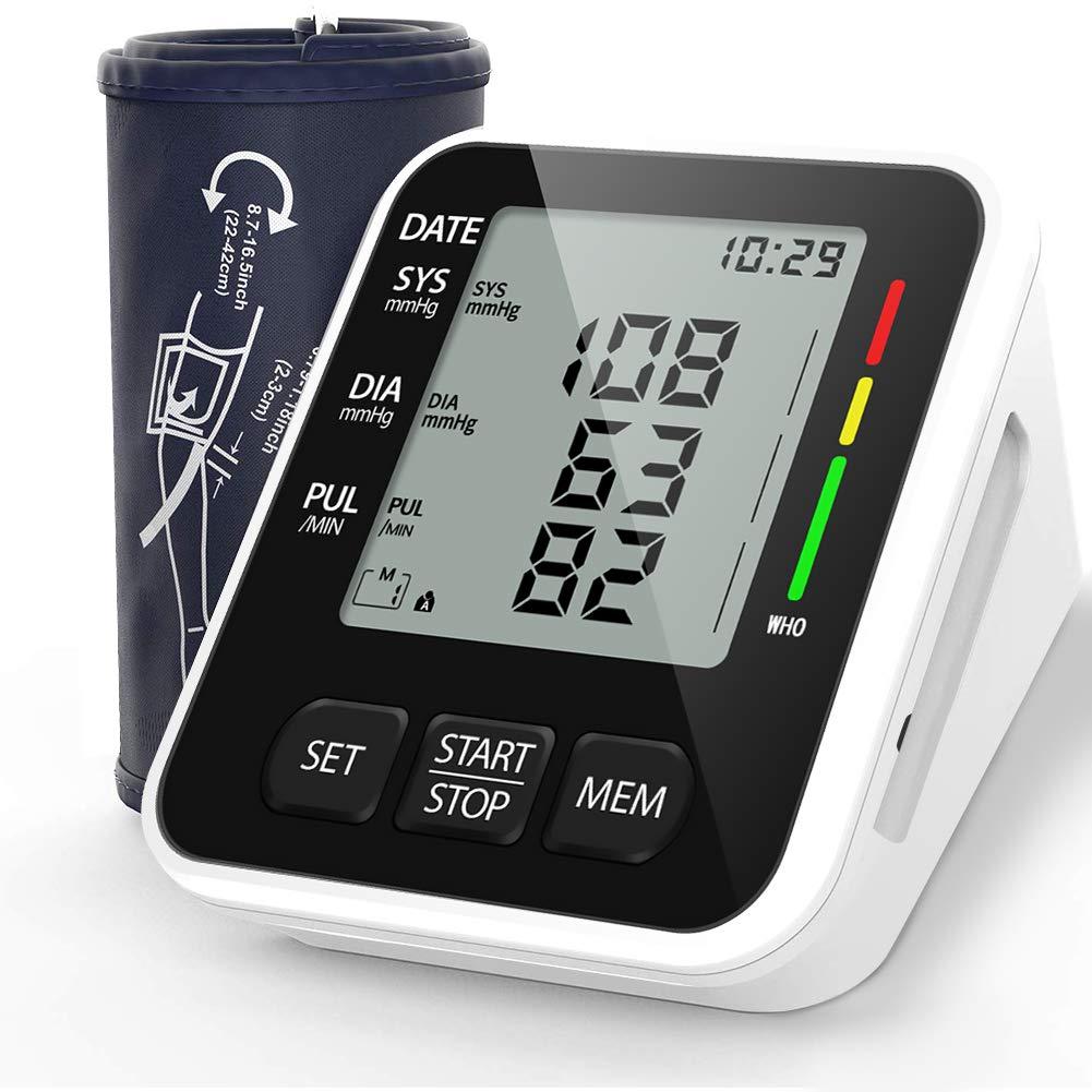 NWOUIIAY Tensiómetro de Brazo Eléctrico Digital con Monitoreo de Arritmia Memorias de 2 Usuario(2 * 99) Gran Pantalla LCD Brazalete 22-42cm Negro