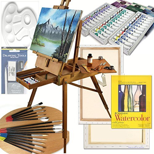 Art Set with HARDWOOD French Easel, Paints, Stretched Canvases, Brush Sets, Drawing Supplies and More by Online Art Supplies