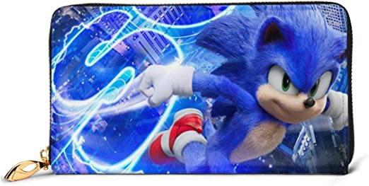 Amazon Com Japanese Anime Sonic The Hedgehog Leather Zipper Wallet Clutch Can Accommodate Credit Cards Cash Documents Etc Diy Custom Wallet Fashion Credit Card Case Home Kitchen