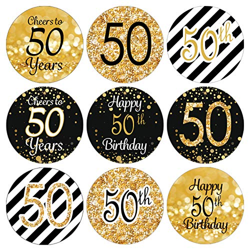 Black and Gold 50th Birthday Party Favor Labels | 216 Stickers ()