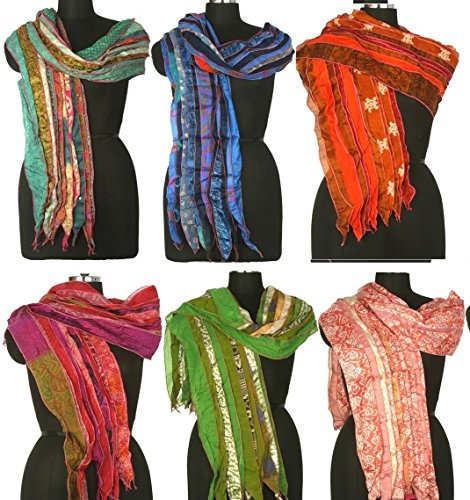 Mango-Gifts-Womens-Lot-of-10-Silk-Sari-Fabric-Handmade-Scarves-Scarfs-Wholesale-Lot