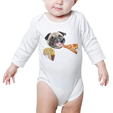 d92303e39 PoPBelle Cute Pugs eat Pizza Baby Onesies White Bodysuit Long Sleeve  Natural Organic Cotton Soft