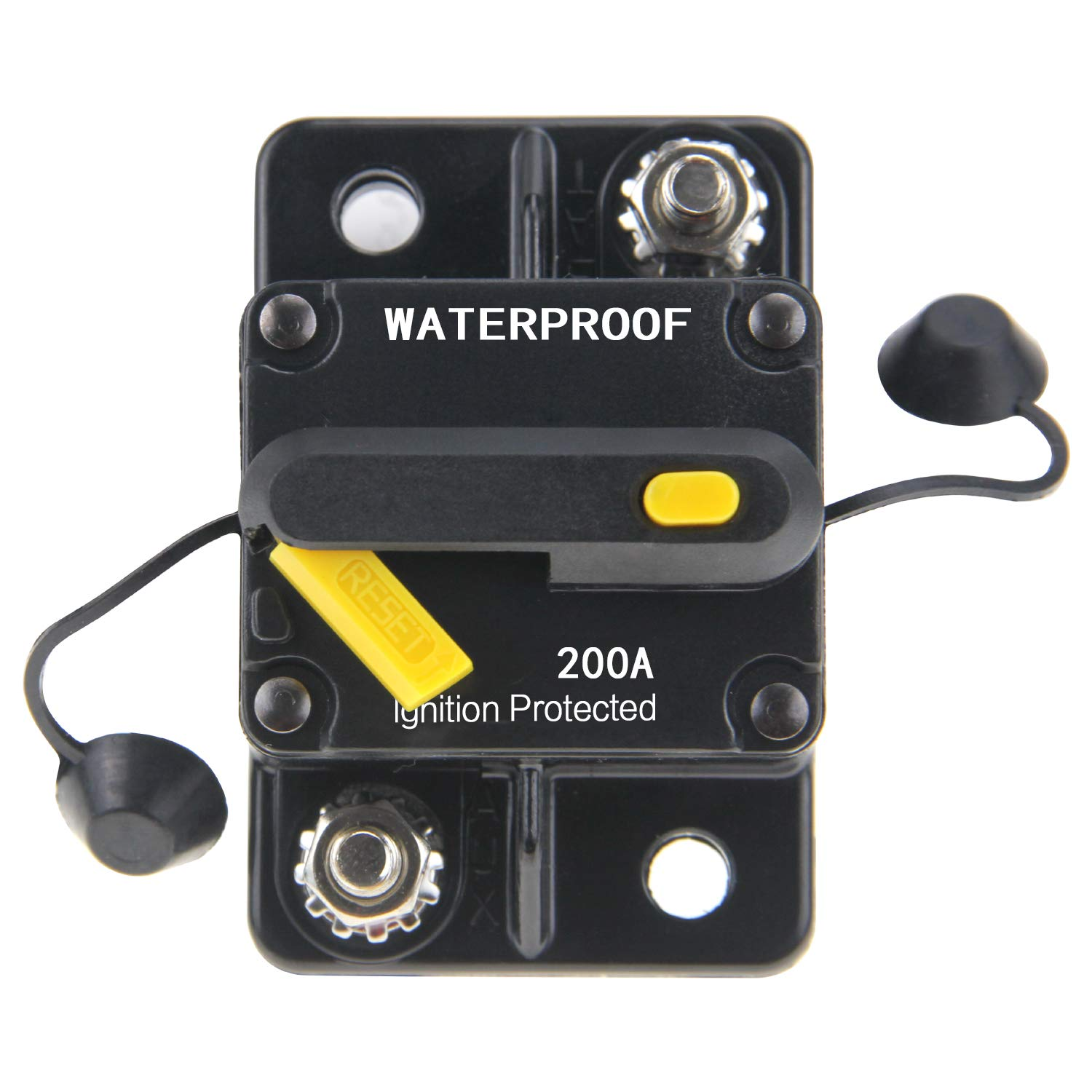 ZOOKOTO 12V-42VDC Waterproof 50A-300A Circuit Breaker with Manual Reset Inline Fuse Inverter Fuse holder for Marine Trolling Motors Boat ATV Manual Power(200A)