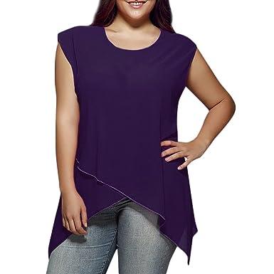 Weant Femme Camisole Été Femme Lady sans Manches U-Neck Couleur Pure Ourlet  irrégulier Grande Taille Vest Débardeur Tops T-Shirt Top Crop Gilet Camisole  ... e28da88b6399