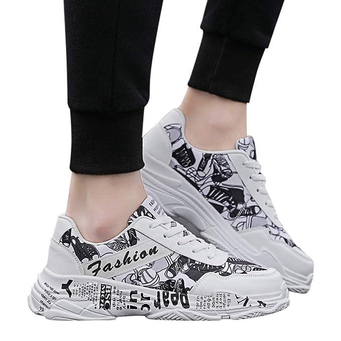 Zapatos Hombre Deportivos ❤️Absolute Calzado Casual de Graffiti de Moda para Hombre Zapatillas Bajas de Hombre Zapatillas cómodas y Transpirables para ...