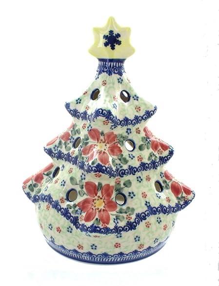 Amazon.com: Polish Pottery Poinsettia Christmas Tree Luminary: Home ...