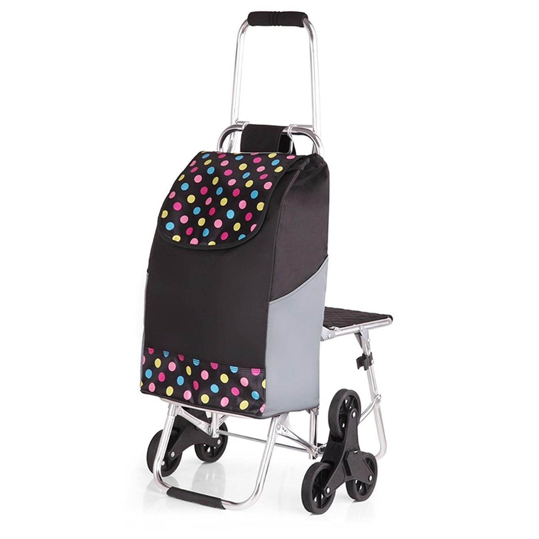 [XINXIKEJI]ショッピングカート ショッピングキャリー 折りたたみ 保温バッグ贈り 椅子/3輪/30L/耐荷重30kg/階段登り/静音 楽々 老人車 母の日/買い物/ギフト/バーベキュー/ピクニック B0794YSSX7  波点