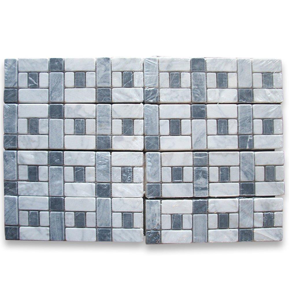 Carrara White Italian Carrera Marble Listello Tile Mosaic Border 4 x ...