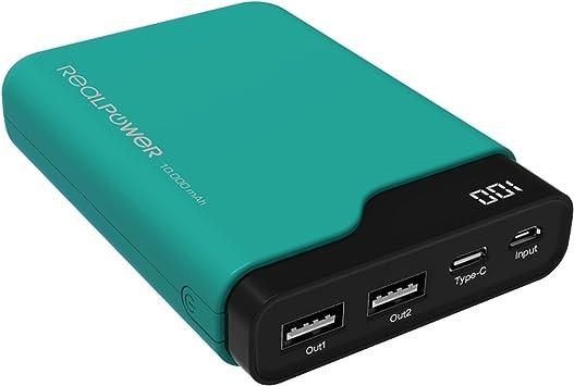 Realpower PB-10000C batería Externa Negro, Verde 10000 mAh ...