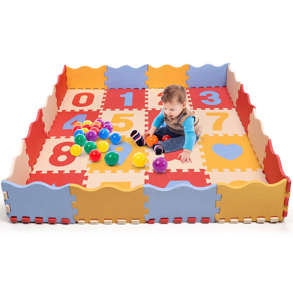 Bammax Baby Puzzle Play Mat, Extra Thick (0.55'') EVA Foam with Fence Non-Toxic Floor Playmat for Playroom & Nursery Colorful Crawling Mat for Infants