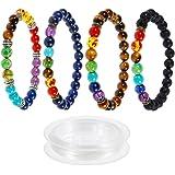 Lictin 4 Pcs Bracelets 7 Chakra de 8 MM, Bracelets Unisexe en Pierre de Lave Perles d'Energie Bracelet Extensible avec 1 Rouleau Corde Blanche Fils à Perler Noir