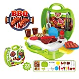 OWIKAR 23Pcs Kids Toy Set Kids Role Play Dress Up Cookware Pretend Play Toy Barbecue BBQ Kits in Suitcase Educational Children's Cooking Toy Gifts for Baby Boys Girls Kids Children
