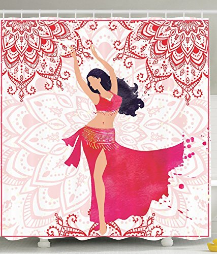 Unique Gifts for Men Oriental Belly Dancer Dance Costumes Indian Mandala Bohemian Adult Ornaments Fanciful Home Wall Decor Bathroom Print Polyester Fabric Shower Curtain Fuchsia Red Pink