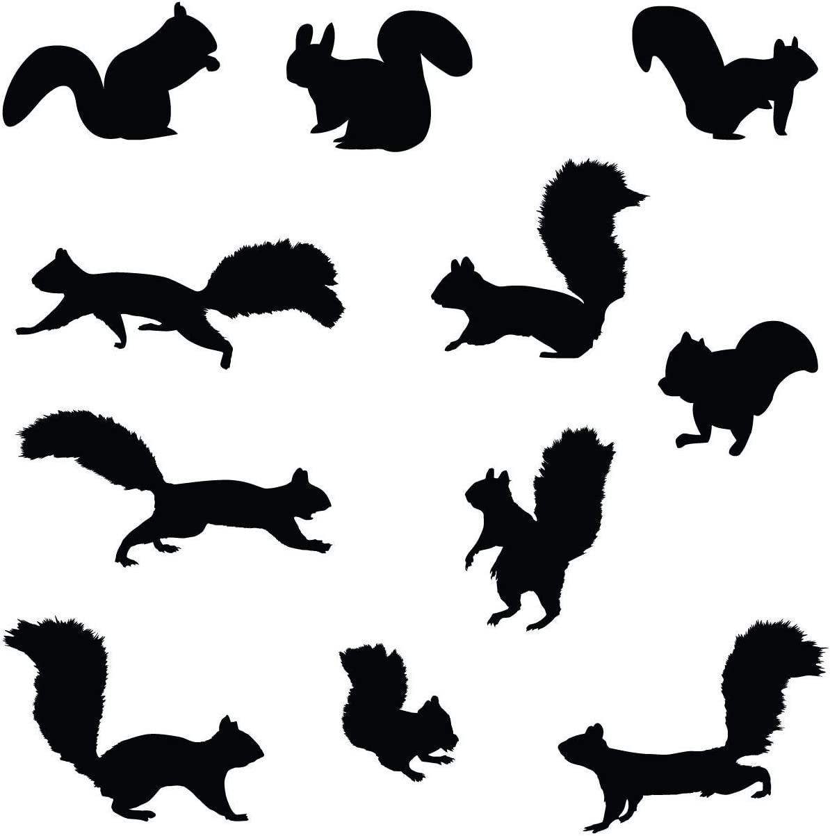 Innovative Stencils Squirrel Wall Decal Nursery Sticker Set Add to Tree Wall Decals Decor for Kids Rooms #1250 (12 Squirrel Decals Included) (Matte Black)