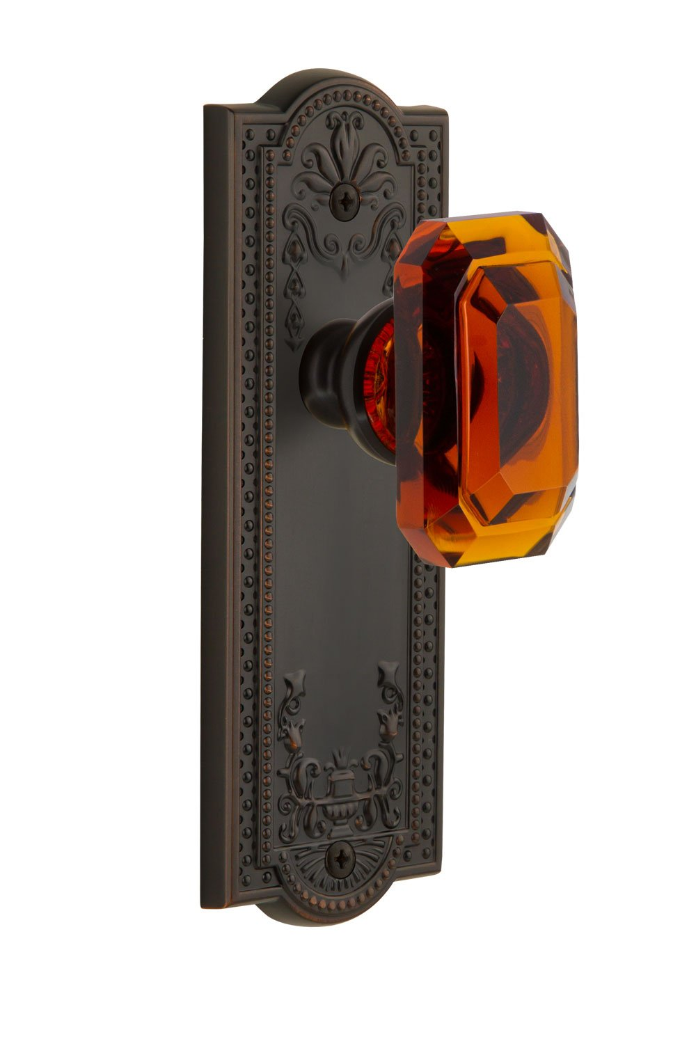 2.375 Grandeur 827935 Parthenon Plate Passage with Baguette Crystal Knob in Lifetime Brass