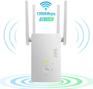 Procity WiFi Extender Wireless Signal Booster, 1200Mbps WiFi Repeater Dual Band 2.4G and 5G with 4 Advanced Antennas, Long Range up to 2500 FT WiFi Range Extender Internet Amplifier
