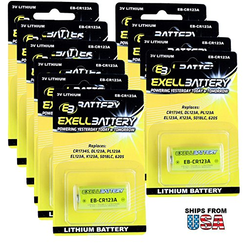 5816 Window (10X 3.0V Exell CR123A Blister Pack Lithium Battery Fits Honeywell 5816, 5816MN, 5819, 5815, 5817CB, 5817, 5819WHS Wireless Door Window Sensor Replaces EL123A EL123AP, VL123A, CR123, CR123-2 PRCR123-2)