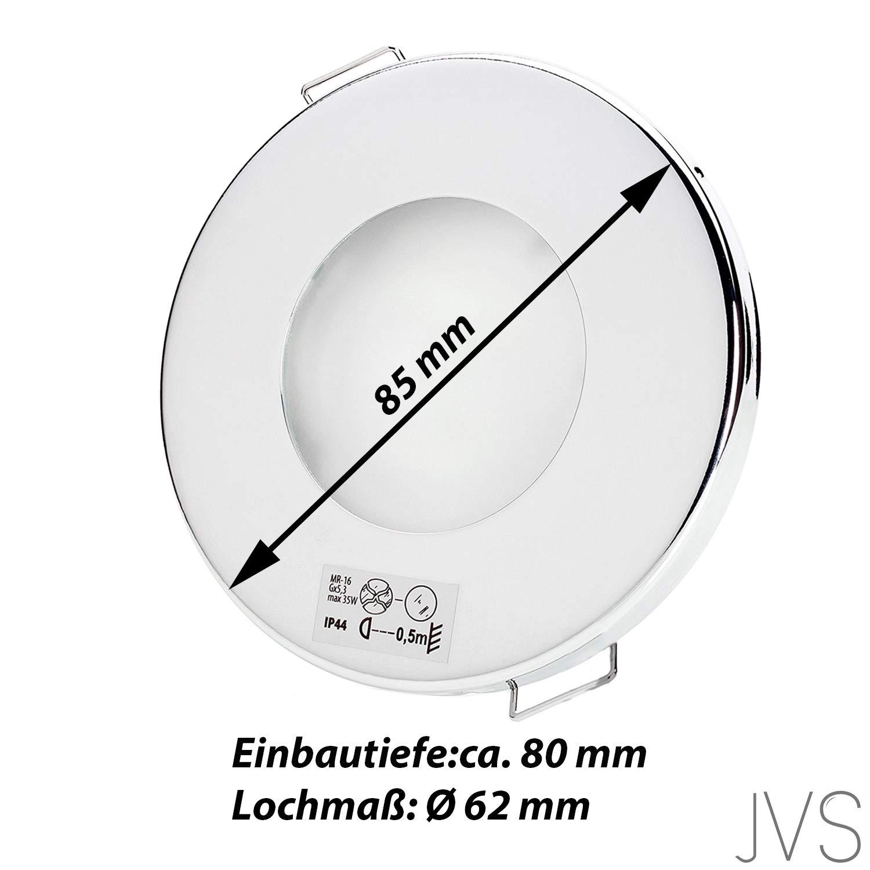 Ohne Leuchtmittel 10 x IP44 Einbauspots Deckenspots Feuchtraum Badezimmer Einbaustrahler AQUA SLIM 230V Rund, Chrom Inkl 10 x Fassung GU10