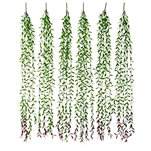 Artificial Eucalyptus Garland 6pcs Ivy Vines for Wall Hanging - Fake Willow Leaf Greenery Total 30 Branches - Plants Leaves for Party Décor Wedding Backdrop House Garden and Wall Decoration 1