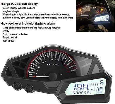 LCD Contachilometri moto Indicatore livello carburante 15000 RPM ABS Adatto per KAWASAKI NINJA 300//EX300//300SE 13-15 Yctze Contagiri per moto Tachimetro