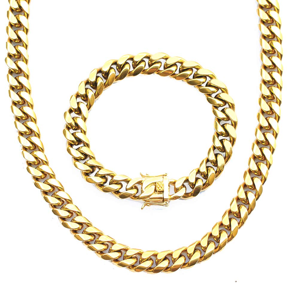 Tripod Heavy Thick Men's Miami Cuban Link Chain- 14K Gold Plated Stainless Steel 10mm, 14mm 14mm (1 Set (14K Gold 4mm 8.5+28inches) 36.5) TRIPOD JEWELRY TJCN002