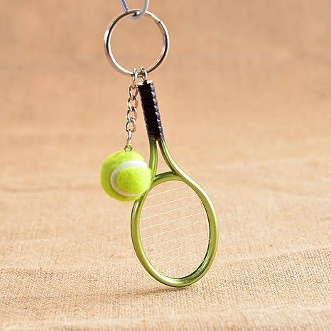 f-eshion Mini pelota raqueta de tenis colgante llavero ...
