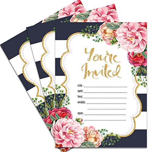 25 Floral You're Invited Party Invitations 5x7 Double-Sided