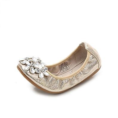 0a0683853fec Zarachielly New Girls Folding Shoes Ballet Flats Soft Driving Flats Casual  Loafers(Gold 32