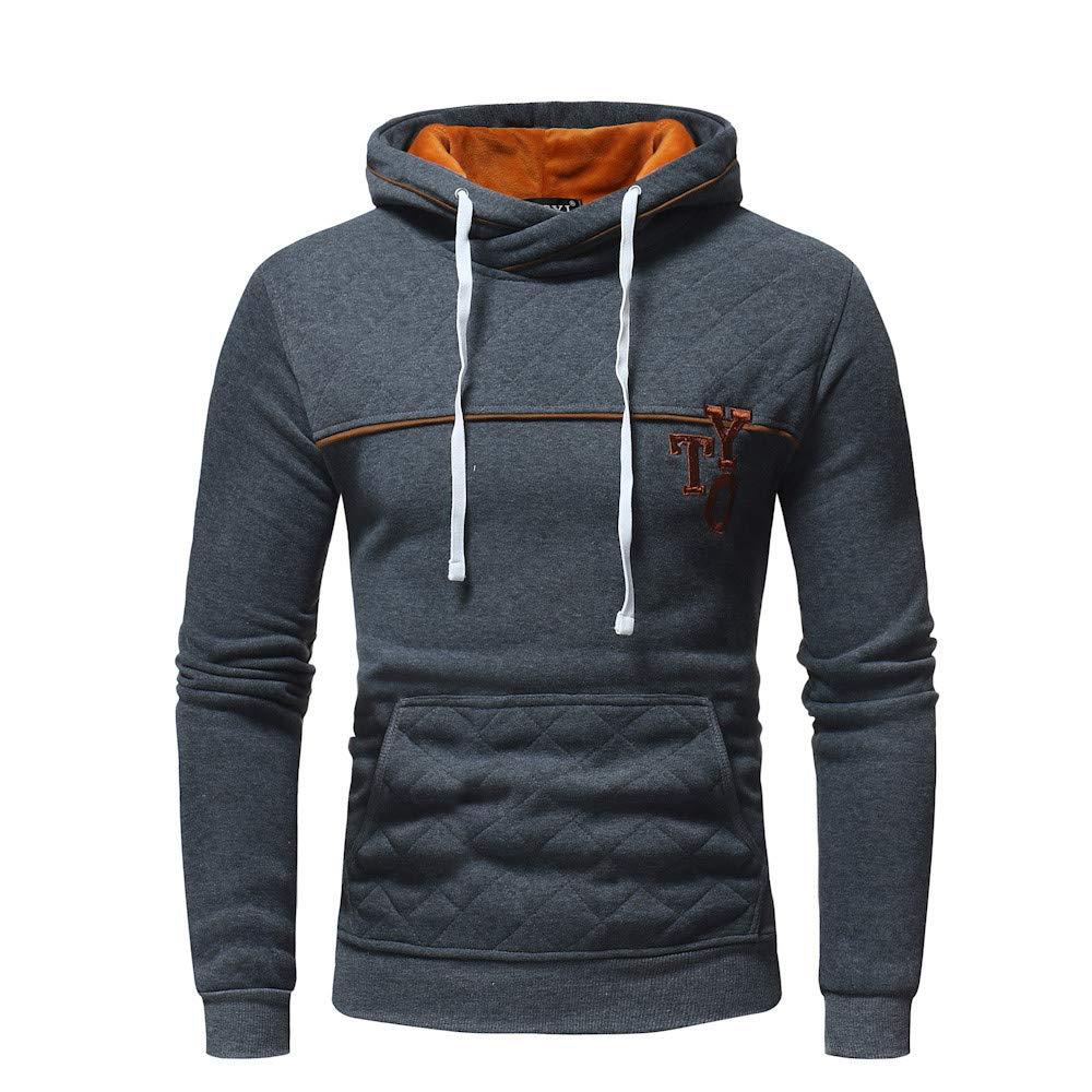 ALIKEEY Mens Long Sleeve Plaid Bolsillo Sudadera con Capucha Hooded Pullover Sweatshirt Outwear Tops Kevlar Negra Oversize: Amazon.es: Ropa y accesorios