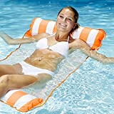 Aqua Leisure 4-in-1 Multi-Purpose Monterey Hammock (Saddle, Lounge Chair, Hammock, and Drifter), Supportive Mesh Lining, Easily Foldable, DuoLock System for Easy Inflation/Deflation, One Size, Orange