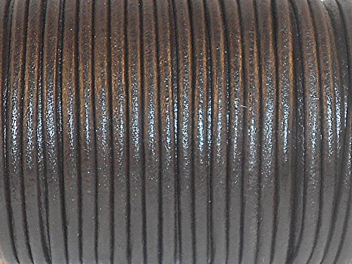 cords craft Round Leather Cord for Jewelry Cording and Crafts Made of Genuine Leather 2.0MM 34 Dark Brown