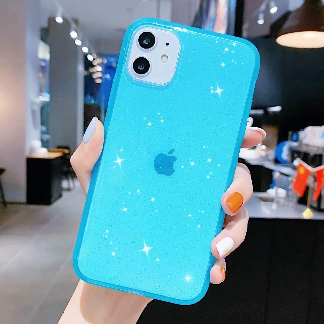 Anynve Compatible with iPhone 11 Case,Clear Glitter Sparkle Bling Case [Anti-Shock Matte Edge Bumper Design] Cute Slim Soft Silicone Gel Phone Case Compatible for Apple iPhone 11 6.1''-Blue
